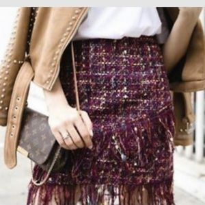 Zara tweed mini skirt with fringe